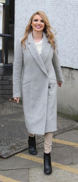 Nadine Coyle wearing grey duster jacket outside ITVTelevision Studios in London, 18th November 2015