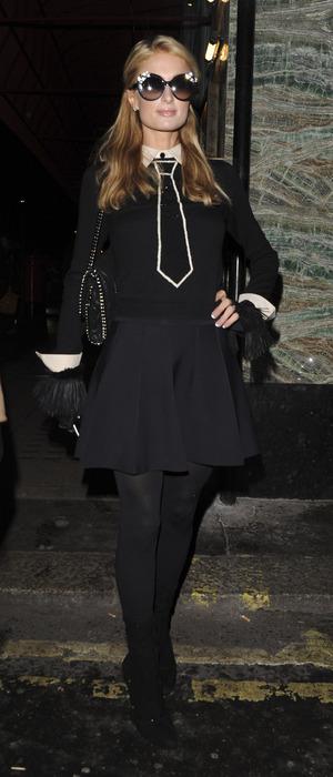 Paris Hilton seen leaving Sexy Fish restaurant in London's Berkeley Square, 17th November 2015