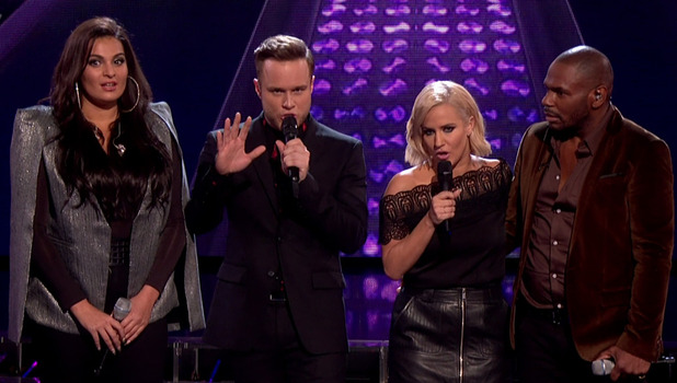 X Factor: Olly Murs accidentally announces that Monica Michael has been eliminated before the results of the public vote after the sing off had been announced. 15 November 2015.