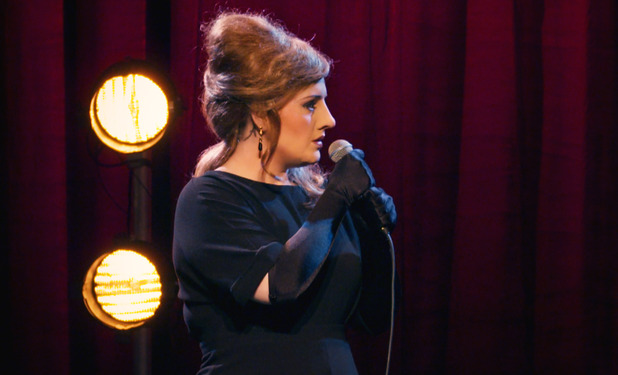 Adele goes undercover as her own impersonator for Adele at the BBC show. 20 November 2015.
