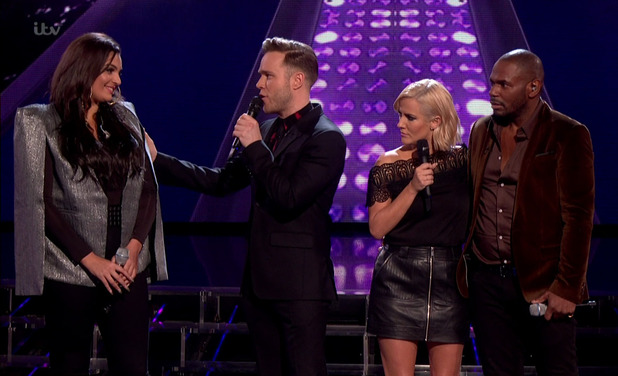 X Factor: Olly Murs accidentally announces that Monica Michael has been eliminated before the results of the public vote after the sing off had been announced. 16 November 2015.