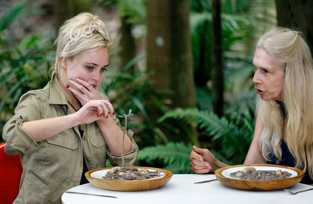 'I'm a Celebrity, Get Me Out Of Here!' TV Programme, Australia - 16 Nov 2015 Bushtucker Trial: Disaster Chef - Jorgie Porter eating 'Spaghetti Bollocknaise' Turkey Testicles and Sand Worms, watched by Lady Colin Campbell.