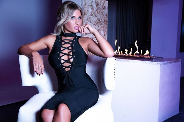 TOWIE's Billie Faiers launches clothing collection with In The Style, black lace-up front dress, 17th Novembe 2015
