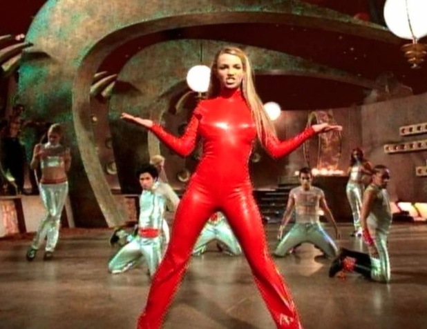 Britney Spears poses in red jumpsuit in Oops I Did It Again music Video 2000, 18th November 2015