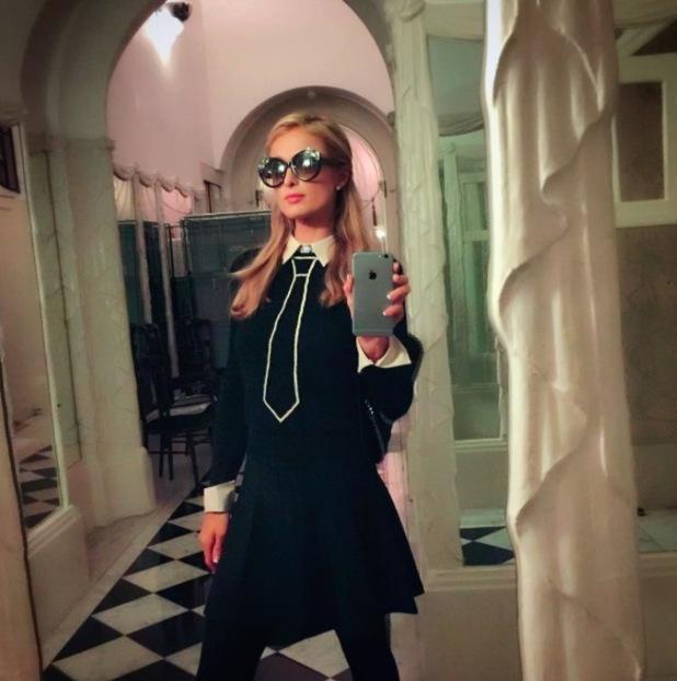 Paris Hilton poses for selfie in Claridges, London, 17th November 2015