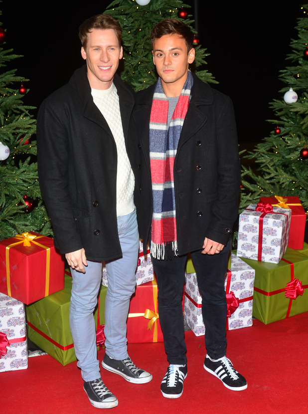 Tom Daley, Dustin Lance Black at the Winter Wonderland - VIP launch, at Hyde Park in London, England. 19th November 2015.