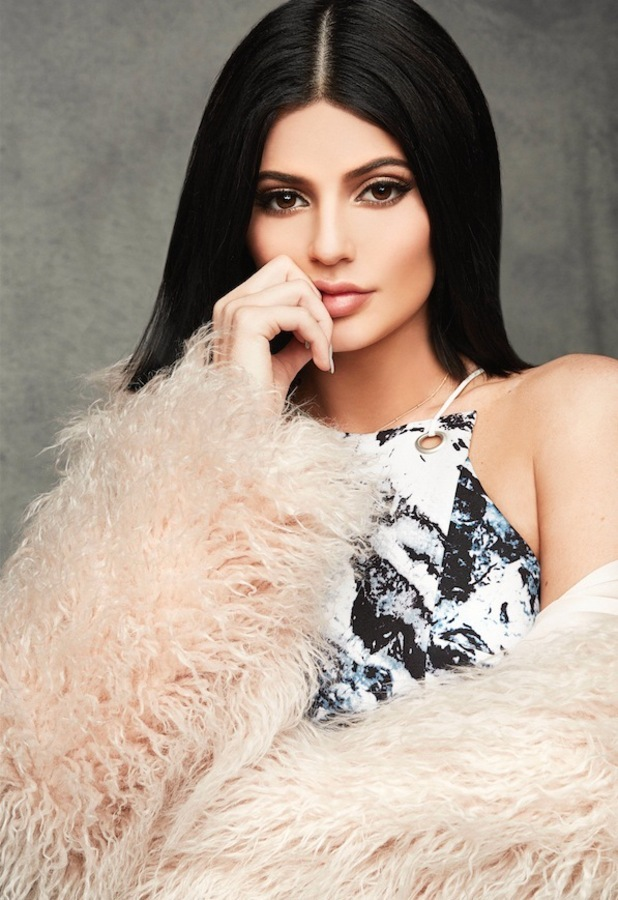 Kendall + Kylie launch Topshop winter collection, Kylie wears cream faux fur coat 17th November 2015