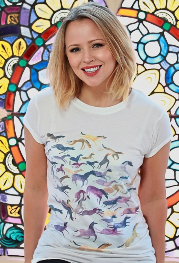 Kimberly Walsh models charity t-shirt for The Haven designed by Savannah Miller for ASOS, 16th November 2015