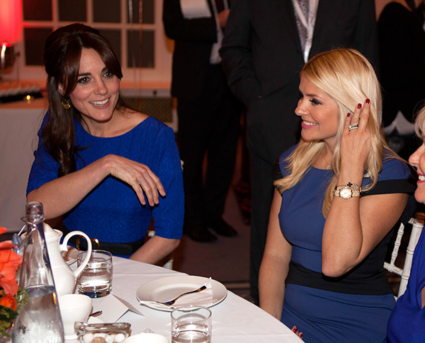 Catherine, Duchess of Cambridge meets Holly Willoughby during the Fostering Network's Fostering Excellence Awards at BMA House on November 17, 2015 in London, England. Her Royal Highness will meet all award winners at a special tea party, and present the Fostering Achievement Award to three young people. (Photo by Ian Vogler - WPA Pool / Getty Images)