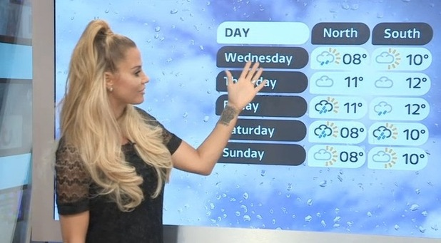 Katie Price presents the weather on Good Morning Britain - 25 November 2015.