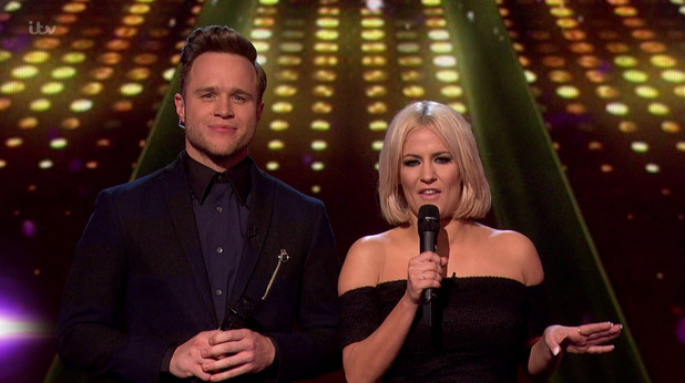 Olly Murs and Caroline Flack presenting the results show of 'The X Factor'. 22 November 2015.