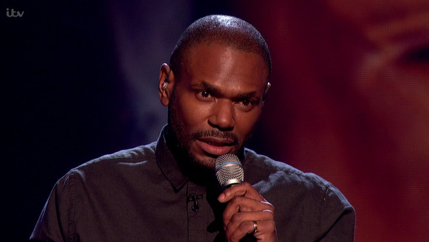 Anton Stephans performing 'I Can't Make You Love Me' in the sing-off, on the results show of 'The X Factor'. 22 November 2015.