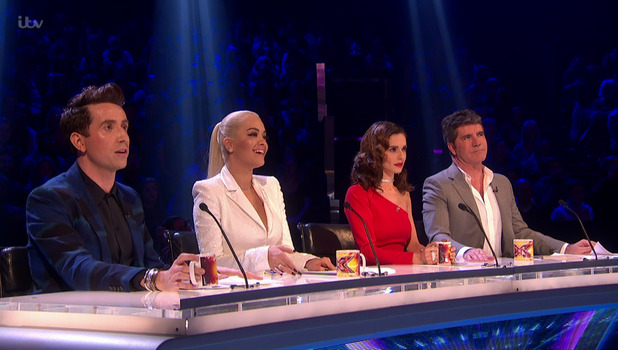 The X Factor judges (Nick Grimshaw, Rita Ora, Cheryl Fernandez-Versini and Simon Cowell) give their feedback. 22 November 2015.