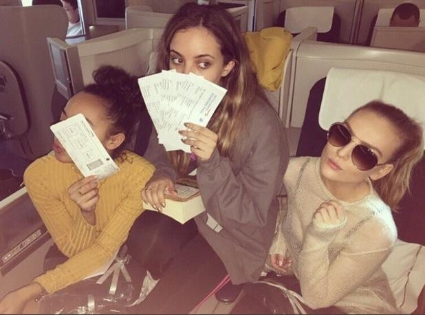Little Mix board plane to Japan minus Jesy. 24 November 2015.