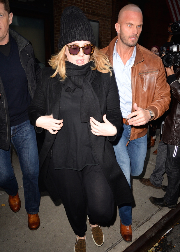 Adele and her bodyguard Peter van der Veen head out in New York city, 20th November 2015