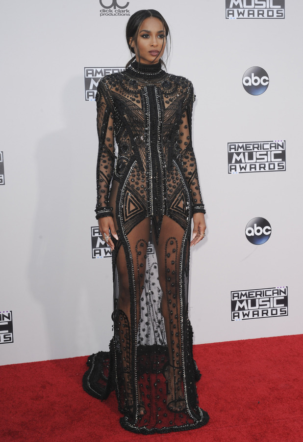 Ciara on the red carpet at the 2015 American Music Awards in Los Angeles, 23rd November 2015