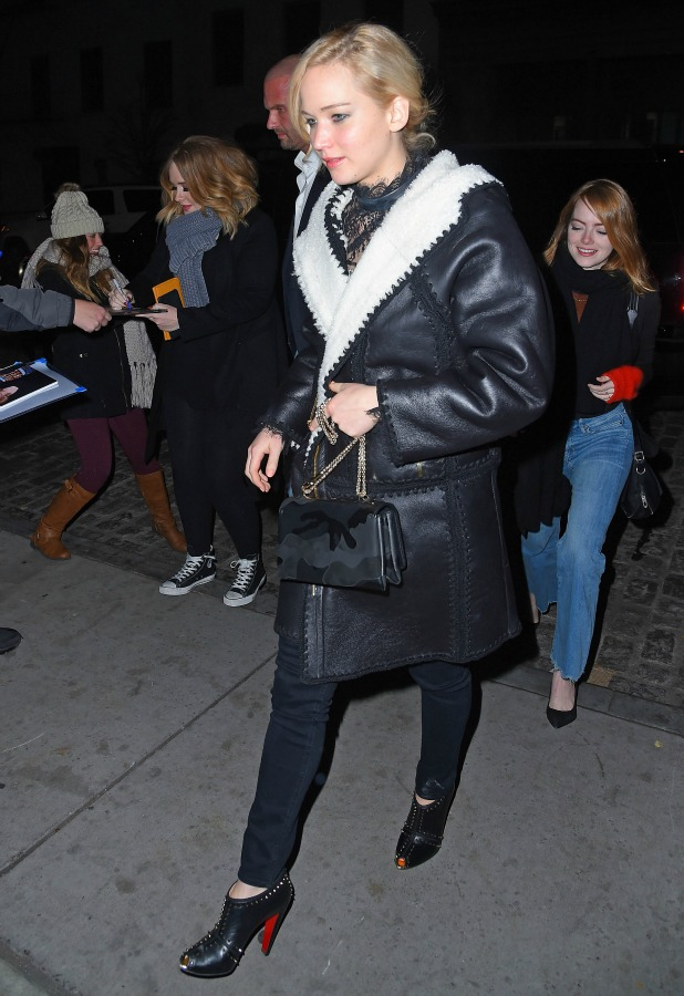 Adele, Jennifer Lawrence, and Emma Stone out and about, New York, America - 23 Nov 2015