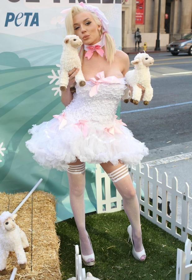 Courtney Stodden protests for PETA's 'Save The Sheep!' Campaign at Hollywood And Highland Center