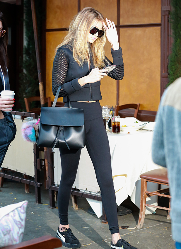 Gigi and Bella Hadid are seen on November 25, 2015 in Los Angeles, California. (Photo by Bauer-Griffin/GC Images)
