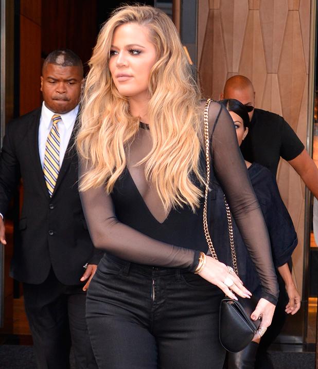 Khloe and Kourtney Kardashian leaving their hotel in New York City September 2015