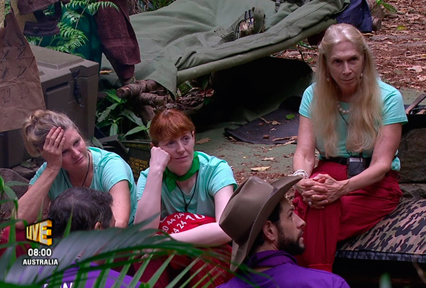 Susannah Constantine, Yvette Fielding and Lady Colin Campbell as the green team are told they had lost the 'Chain Reaction Challenge' Danger Zone trial and would be banished to the Danger Zone to face the public vote, on 'I'm a Celebrity... Get Me Out of Here!' Broadcast on ITV1 HD.