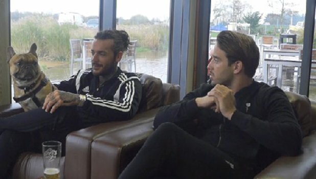 Pete Wicks with Ernest and James Lock in TOWIE video, 25 November 2015