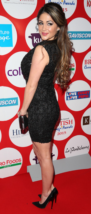 Casey Batchelor attends The British Curry Awards in AX Paris dress, 1st December 2015