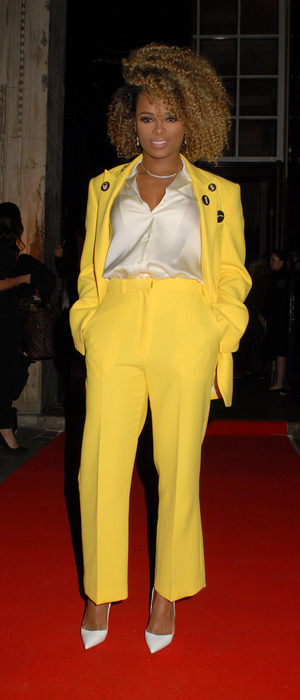 Fleur East wears yellow suit at the Cosmopolitan Ultimate Women of The Year Awards, 3rd December 2015