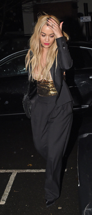 Rita Ora out and about in London wearing black jumpsuit, 1st December 2015