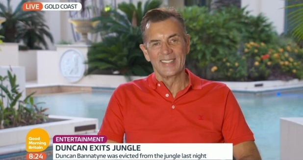 I'm A Celebrity's Duncan Bannatyne speaks about his clash with Lady C on Good Morning Britain. 4 December 2015.