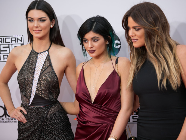 Kendall Jenner, Kylie Jenner and Khloe Kardashian attend 2014 American Music Awards - Arrivals at Nokia Theatre, LA, 23 November 2015