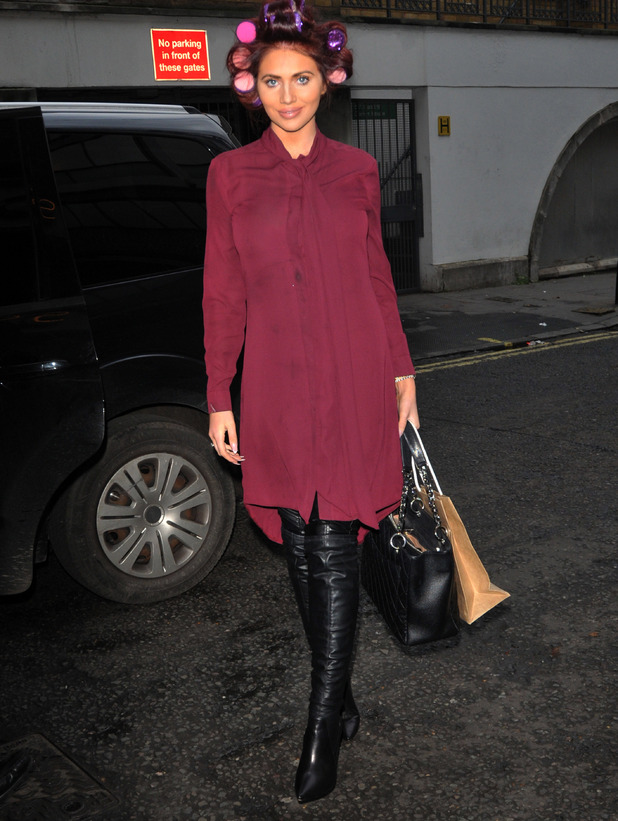 Former TOWIE star Amy Childs emerges from Soho Hotel with rollers in her hair, 2nd December 2015