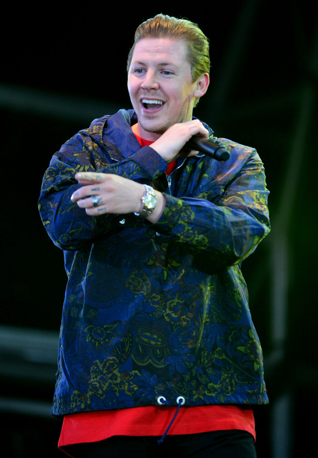 Professor Green on the Castle Stage Camp Bestival Lulworth Castle Dorset 31st July 2015.