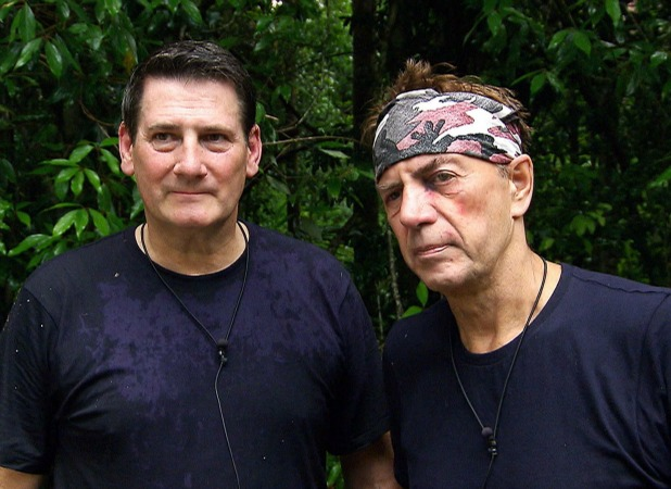 Tony Hadley and Duncan Bannatyne who has a black eye - Post Bushtucker Trial - Depths of Despair 29 Nov 2015