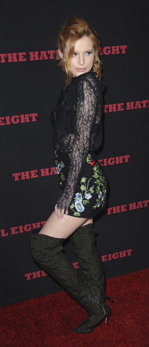 Bella Thorne on the red carpet at the Premiere of The Weinstein Company's 'The Hateful Eight' at ArcLight Cinemas Cinerama Dome, Los Angeles, America 8th December 2015