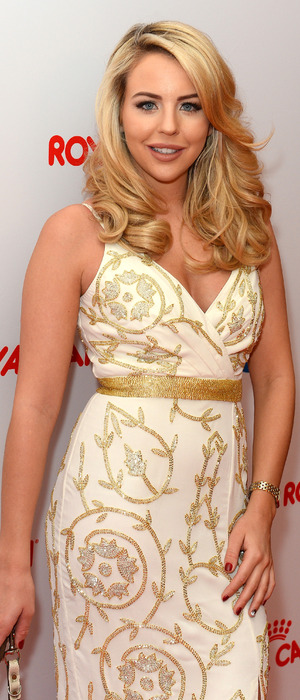 TOWIE's Lydia Rose Bright poses in bridal-esque dress at the Guide Dogs Annual Awards, Hilton Hotel, London, 10th December 2015