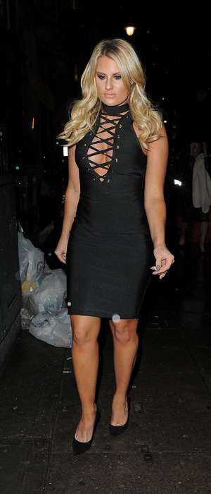 TOWIE star Danielle Armstrong wears black dress, attends Billie Faiers' In The Style launch party in London, 11th December 2015