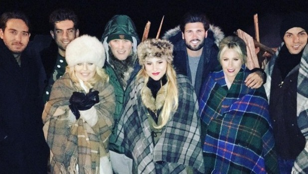 TOWIE cast film Christmas special in Scotland. 23 November