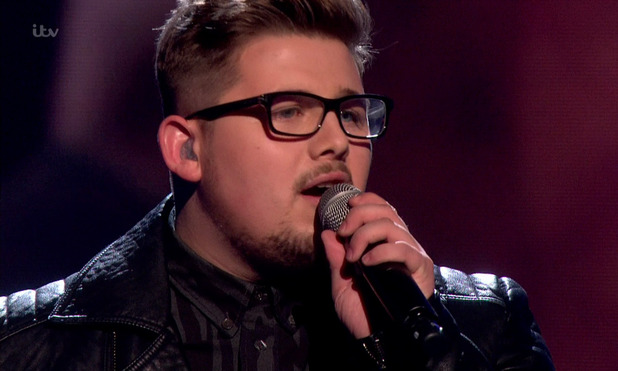 X Factor: Che Chesterman performing 'Bridge over Troubled Water' in the sing-off. 6 December 2015.