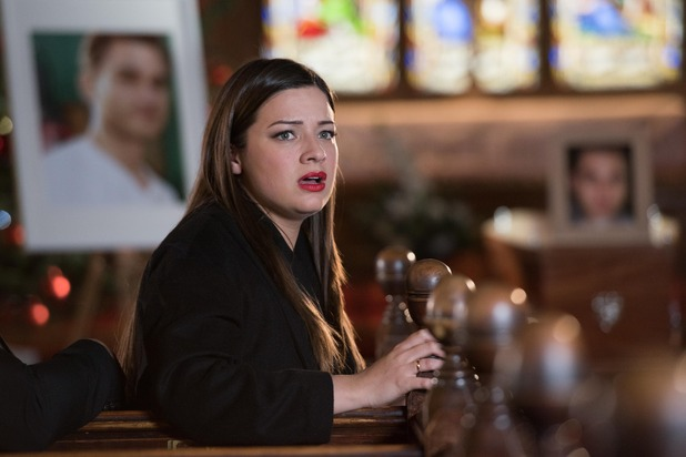 Hollyoaks, Lindsey at Freddie's funeral, Tue 15 Dec