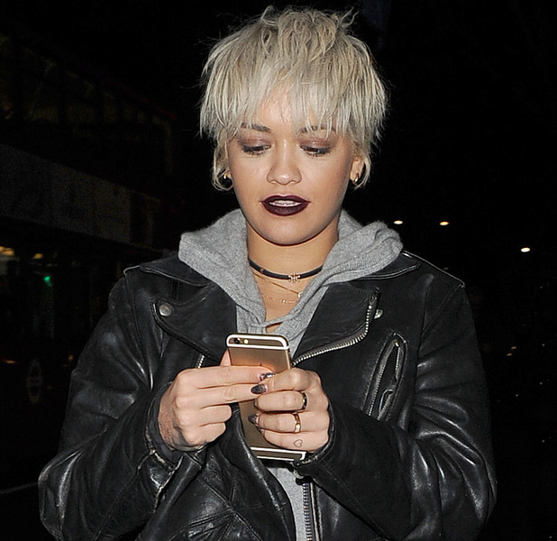 Rita Ora shows off new cropped hair as she leaves Pizza Express in Notting Hill, London 10th December 2015