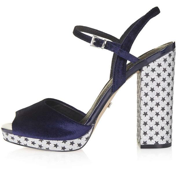 Platform shoes with star-studded heel, Topshop £56, 10th December 2015