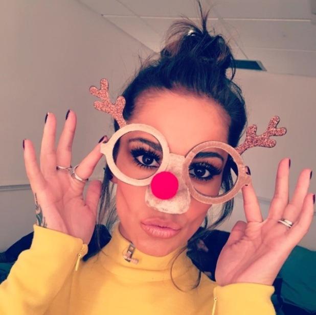 Cheryl Fernandez-Versini takes to Instagram to show off festive glasses, 8th December 2015