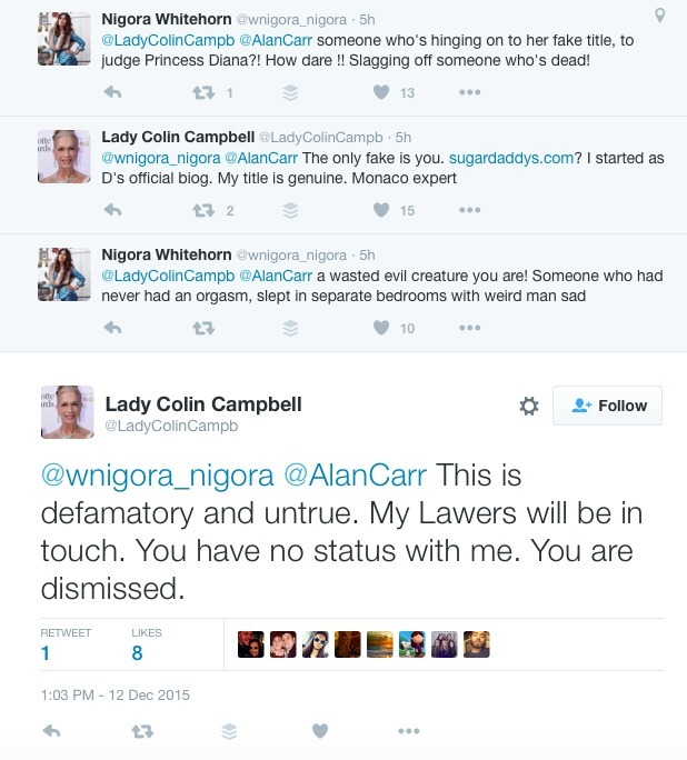 Nigora Whitehorn in Twitter feud with Lady C, 12 December 2015.