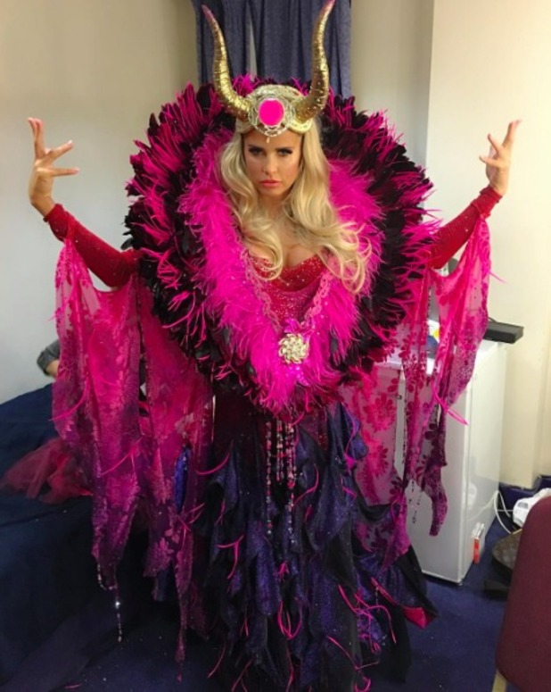 Katie Price transforms into Maleficent for Sleeping Beauty panto, 11 December 2015.