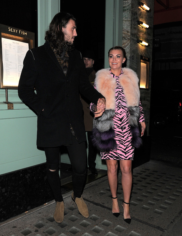 Billi Mucklow and fiance Andy Carroll outside Sexy Fish Restaurant in London, 10th December 2015