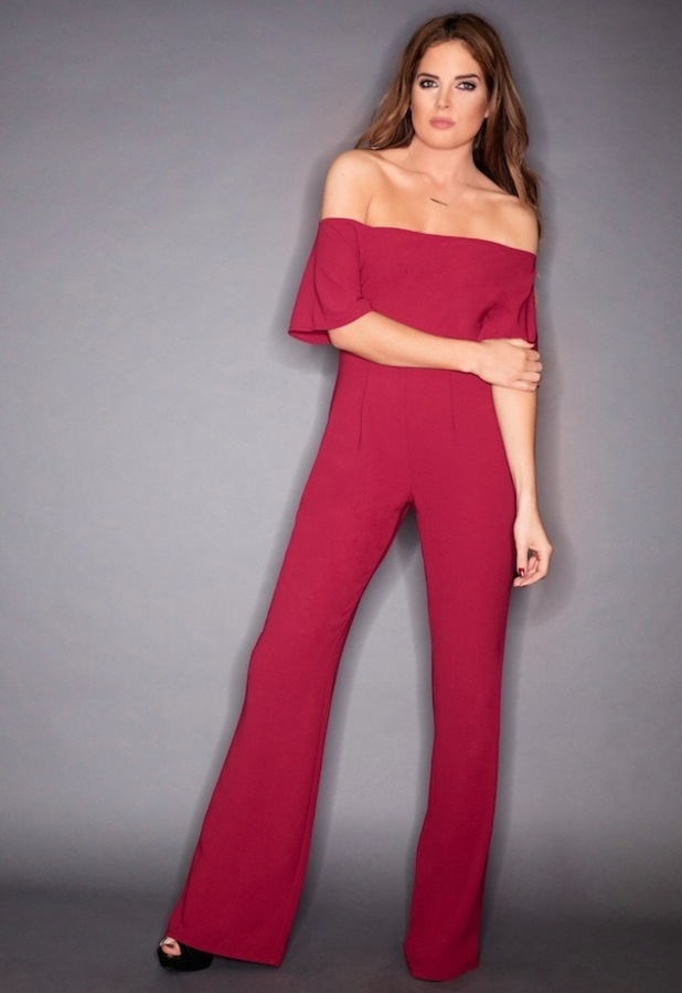 Binky Felstead X In The Style Bardot off-the-shoulder jumpsuit, red £34.99, 11th December 2015