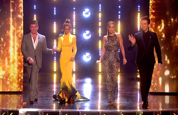 The judges (Simon Cowell, Cheryl Fernandez-Versini, Rita Ora and Nick Grimshaw) make their entrance on the results show of 'The X Factor'. Broadcast on ITV1 HD.