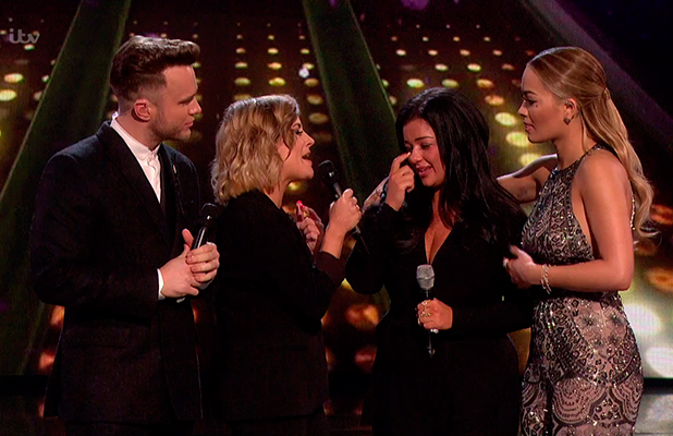 Lauren Murray after she was eliminated from the competition on the sing off, on the results show of 'The X Factor'. Broadcast on ITV1 HD.