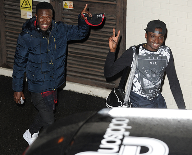 Reggie N Bollie after X Factor semi final in London, 6 Dec 2015